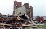 After the tornado. This old church was completely demolished when the mortar gave way to winds exceeding 100 mph.